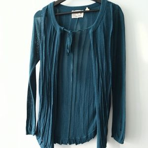 Anthropologie Field & Flower Teal Pleated Cardigan